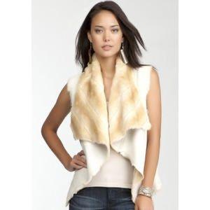 White/cream/tan faux fur reversible vest